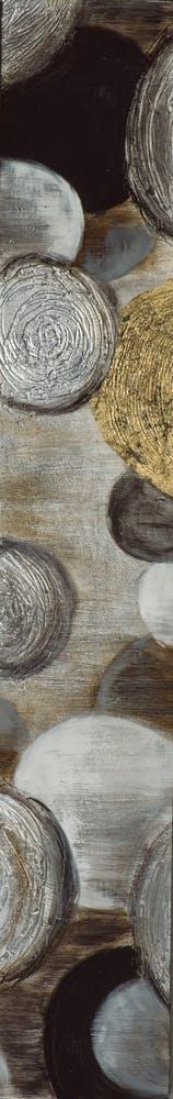 Tableau ABSTRAIT Cercles M2 peinture acrylique et feuilles métal - tons noirs, blancs, dorés et argentés 25x150cm