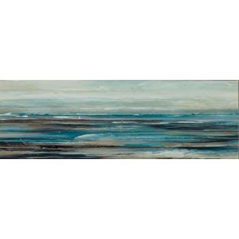 Tableau MARINE Mer Abstraite peinture acrylique - tons noirs, blancs, beiges, marrons et bleus 50x150cm