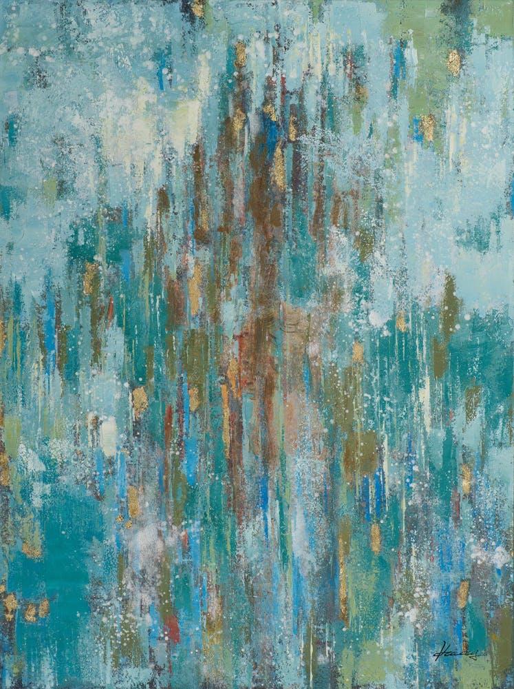 Tableau ABSTRAIT peinture acrylique et feuilles métal - tons blancs, beiges, bleus et dorés 90x120cm