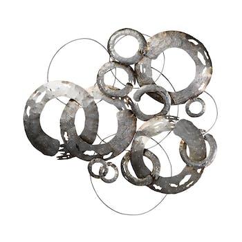 Décoration murale ABSTRAIT Cercles effet usé métal ton argentés et dorés 95x95cm