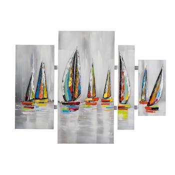 Tableau Quadryptique MARINE Voiliers couleurs vives sur ciel et mer gris avec éléments métal 100x134cm