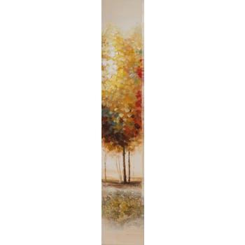 Tableau ARBRES beiges et multicouleur avec feuilles métal 25x150cm