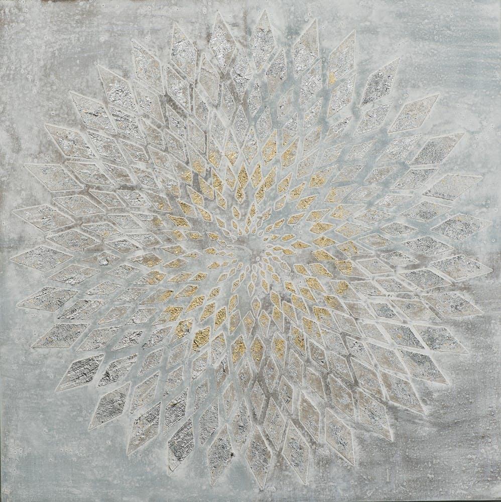 Tableau ABSTRAIT Rosace de Losanges tons gris et dorés avec feuilles métal 80x80cm