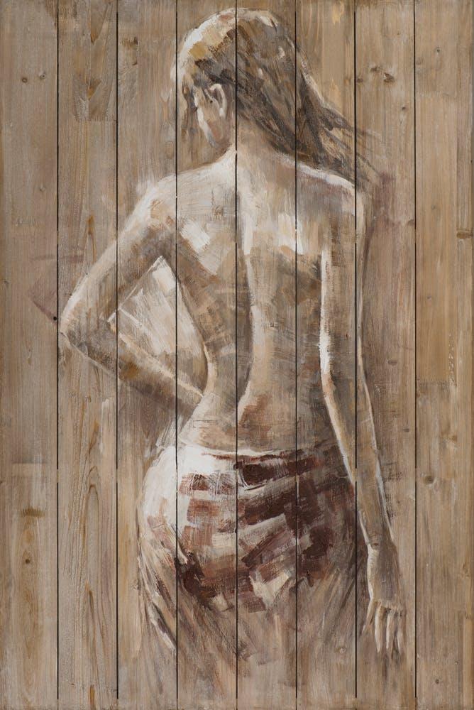 Tableau FEMME Nue drapée de dos tons beige et blancs 80x120cm