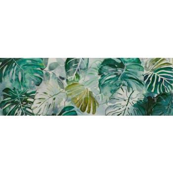 Tableau Feuilles vert d'eau tons verts, blancs, beiges, noirs 50x150cm