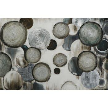 Tableau ABSTRAIT Cercles et Ronds texturés tons blancs, noirs, beiges et argentés et éléments métal 100x150cm
