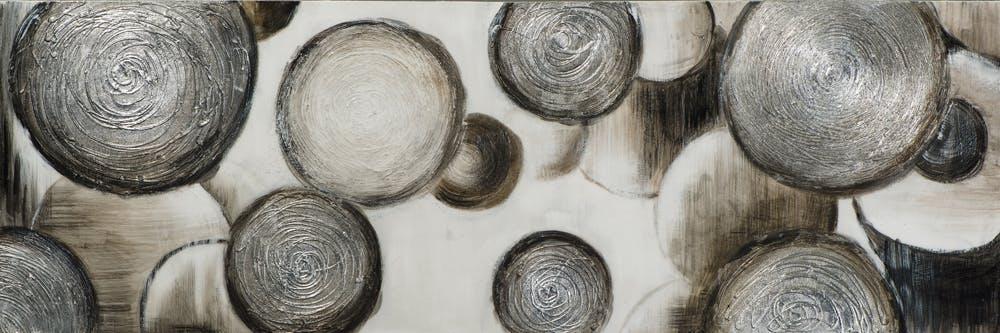 Tableau ABSTRAIT Ronds et Cercles texturés tons blancs, noirs, beiges et argentés et éléments métal 50x150cm