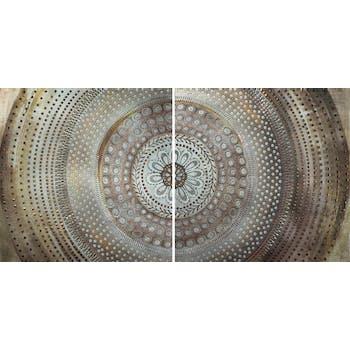 Tableau ABSTRAIT Dyptique Rosace tons beiges, marrons et dorés et éléments métal 80x160cm