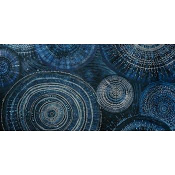 Tableau ABSTRAIT Rosace M1 tons bleus et beiges et éléments métal 60x120cm