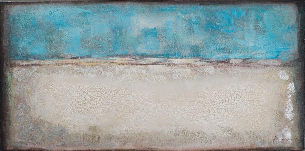 Tableau ABSTRAIT M1 tons bleus, beiges, blancs, marrons et argentés et feuilles métal 70x140cm