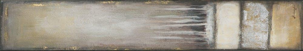 Tableau ABSTRAIT M1 tons blancs, beiges, marrons, dorés et argentés et feuilles métal 25x150cm