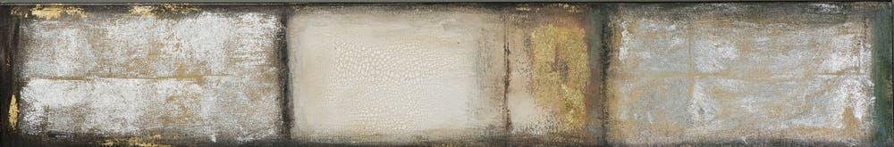 Tableau ABSTRAIT M2 tons blancs, beiges, marrons, dorés et argentés et feuilles métal 25x150cm