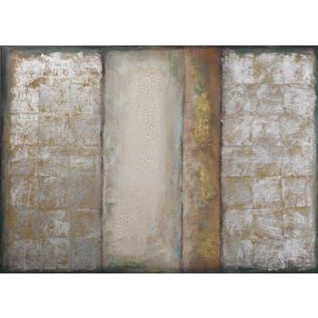 Tableau ABSTRAIT tons beiges, marrons, blancs, dorés et argentés et feuilles métal 100x140cm