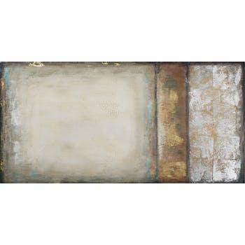 Tableau ABSTRAIT tons  marrons, blancs, dorés, beiges et argentés et feuilles métal 70x140cm