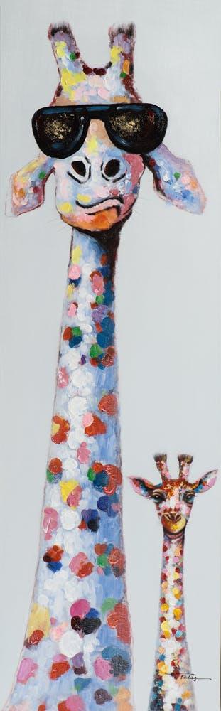 Tableau POP-ART Girafe Fashion Star et Girafon multicouleur 50x160cm