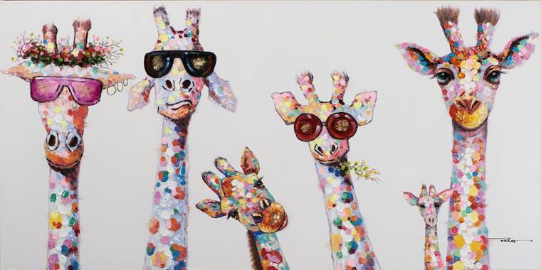 Tableau POP-ART Girafes Pop Star multicouleur 70x140cm