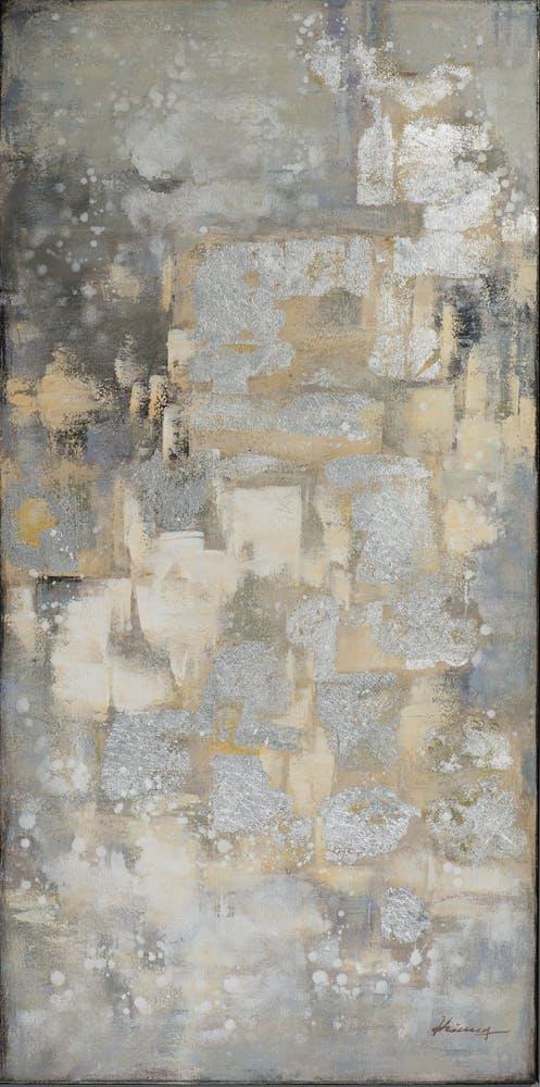 Tableau ABSTRAIT tons beiges, gris et argentés et feuilles métal 70x140cm