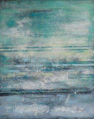 Tableau ABSTRAIT tons bleus verts et gris et feuilles métal 80x100cm