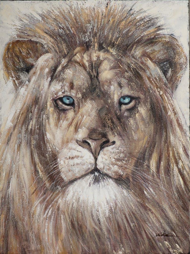 Tableau ANIMAL Tête de Lion Majesteux Yeux bleus ton naturels et feuilles métal 90x120cm