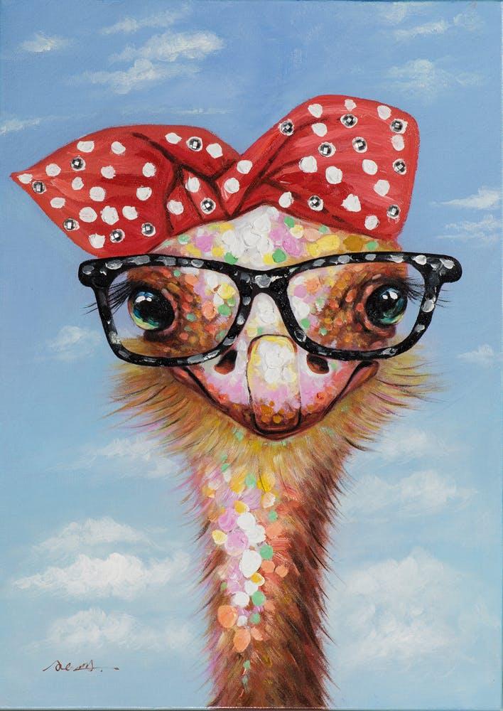 Tableau POP-ART Autruche Fashion Victime à lunettes multicouleur 50x70cm