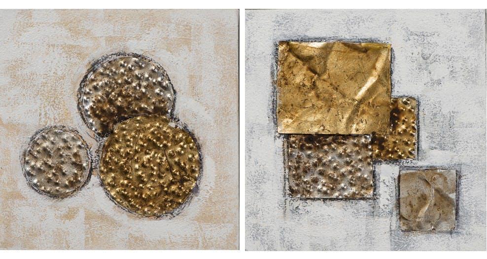 Lot de 2 Tableaux ABSTRAIT Cercles et Rectangles texturés tons dorés, marrons et argentés 2x 25x25cm