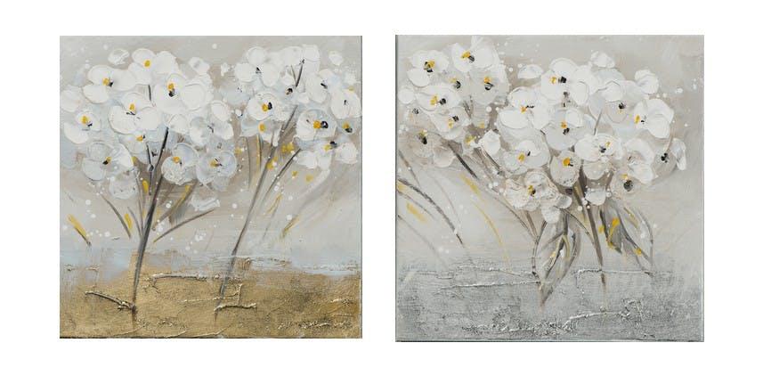 Lot de 2 tableaux FLEURS Blanches peintures acrylique - tons blancs, jaunes, dorés et argentés 2X 25x25cm