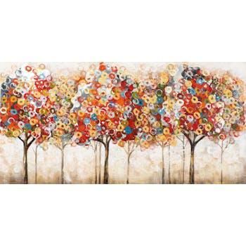 Tableau FORET Arbre à Anneaux tons vifs blancs, rouges, beiges, jaunes, verts, bleus et argentés 70x140cm