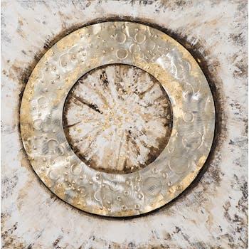 Tableau ABSTRAIT Cercle creux tons beiges, dorés et argentés 70x70cm