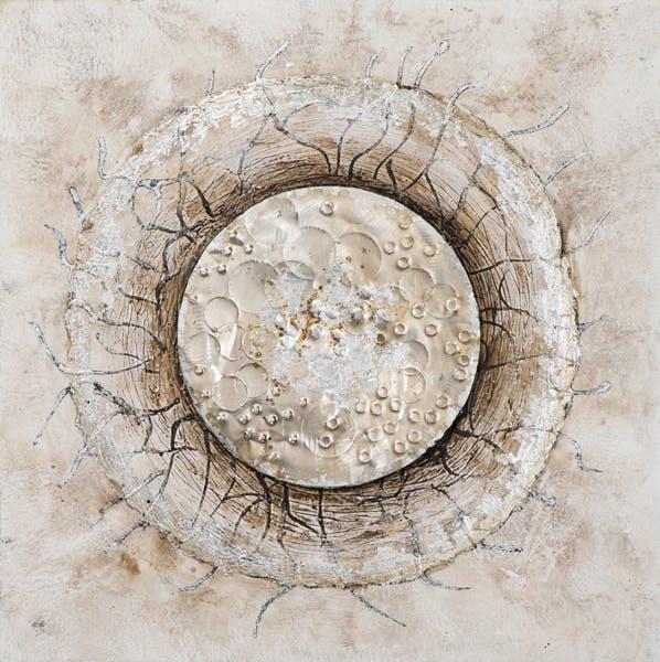 Tableau ABSTRAIT Cercle avec filaments tons beiges, dorés, argentés 70x70cm