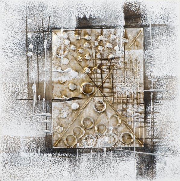 Tableau ABSTRAIT Cadre avec formes géométriques tons blancs, noirs, beiges, dorés et argentés 40x40cm