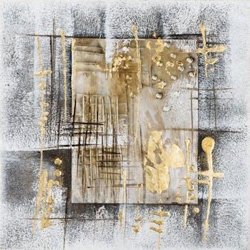 Tableau ABSTRAIT Cadres fond tons noirs et blancs avec effets tons beiges et dorés 40x40cm