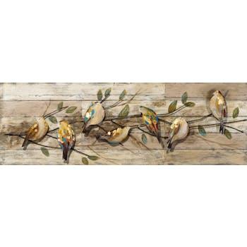 Tableau ANIMAUX Oiseaux colorés sur branche tons blancs, noirs, rouges, beiges, jaunes, bleus, verts et dorés 40x120cm