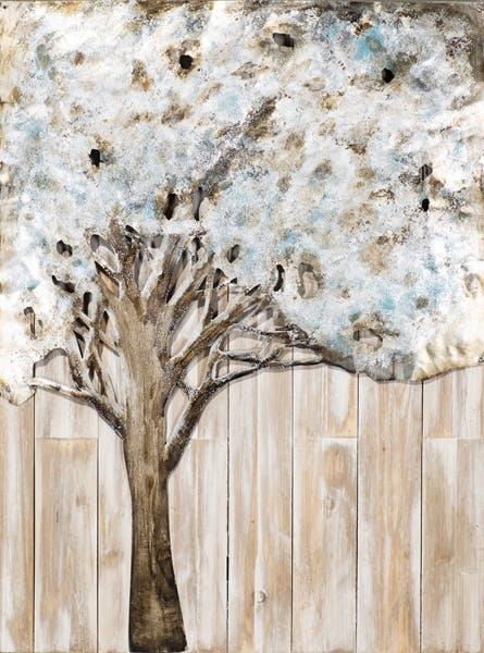 """Tableau FORET Arbre feuillage """"Nuage"""" sur fond bois tons beiges, noirs, blancs, bleus et argentés 60x80cm"""
