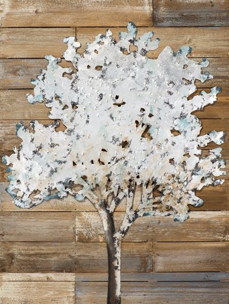Tableau FORET Arbre sur fond bois tons beiges, bleus et argentés 60x80cm