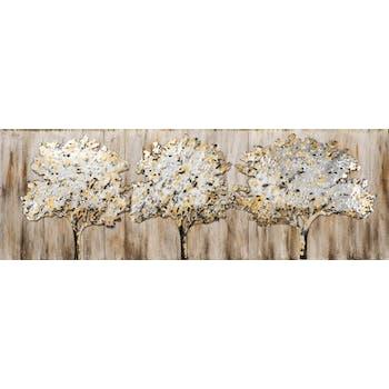Tableau FORET Trio d'Arbres Majestueux tons beiges, dorés et argentés 120x50cm