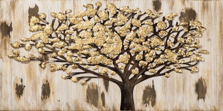 """Tableau FORET Arbre Solitaire au """"Fruits"""" dorés tons beiges et dorés 140x70cm"""