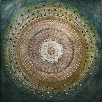 Tableau ABSTRAIT Rosace multicolores tons beiges, verts, bleus, et dorés 40x40cm