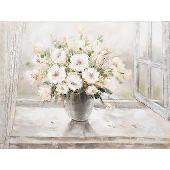 Tableau Bouquet de FLEURS sur fenêtre tons blancs, noirs, beiges et verts 120x90cm