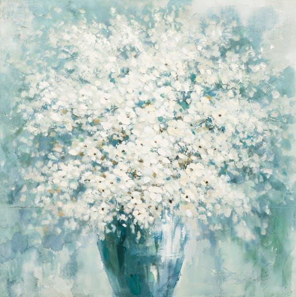 Tableau Bouquet de FLEURS bleu tons blancs, beiges, verts et bleus 100x100cm