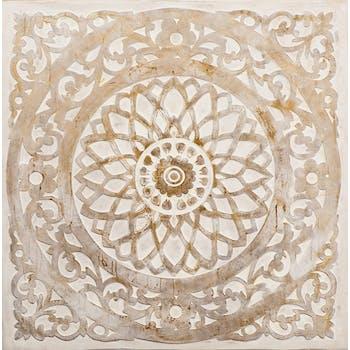 Tableau ABSTRAIT Rosace Arabesque tons blancs et beiges 100x100cm