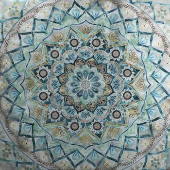 Tableau ABSTRAIT Rosace Bleue Arabesque tons beiges, verts et bleus 100x100cm