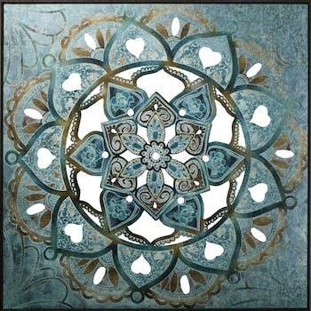 Tableau ABSTRAIT Rosace Arabasque tons bleus, verts et beiges 100x100cm