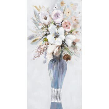 Tableau Bouquet de FLEURS M1 couleurs douces tons blancs, noirs, beiges, verts, bleus et argentés 50x100cm