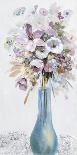 Tableau Bouquet de FLEURS M2 couleurs douces tons blancs, noirs, beiges, verts, bleus et argentés 50x100cm