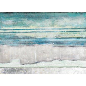 Tableau ABSTRAIT Paysage Marin tons bleus, blancs, beiges, noirs, verts et argentés 140x100cm