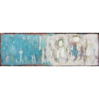Tableau ABSTRAIT dominante bleue tons bleus, beiges, blancs, noirs et verts 150x50cm