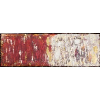Tableau ABSTRAIT dominante rouge tons rouges, beiges, blancs, noirs et dorés 150x50cm