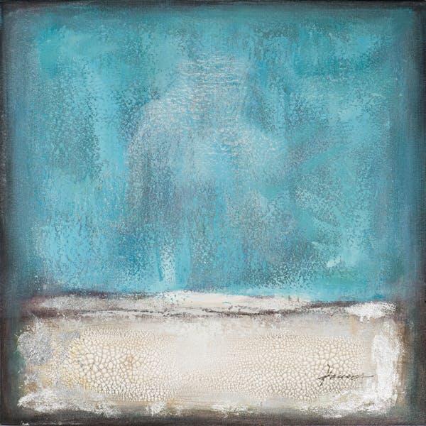Tableau ABSTRAIT dominante bleue tons bleus, blancs, beiges, verts, noirs et argentés 70x70cm
