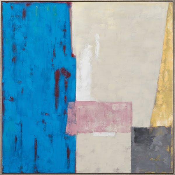 Tableau ABSTRAIT façon Patchwork tons bleues, argentés, dorés, gris, rose 80x80cm