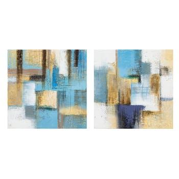 Lot de 2 Tableaux ABSTRAIT façon Patchwork tons bleus, dorés, blancs, noirs et beiges 2x 25x25cm